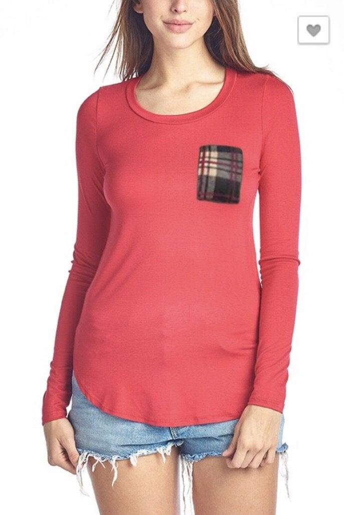 FINAL SALE Red Plaid Pocket Top