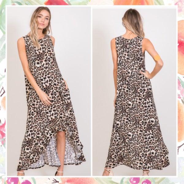 Animal Print High Low Maxi Dress