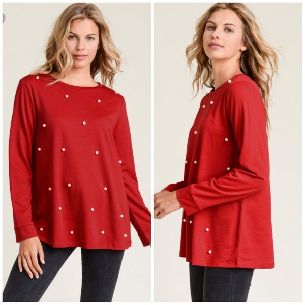 FINAL SALE Red Pearl Top