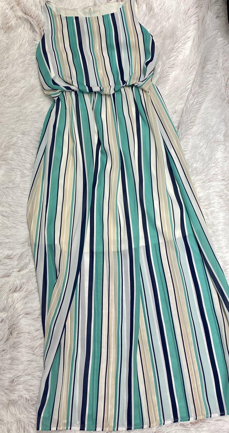 FINAL SALE Blue Striped Maxi Dress