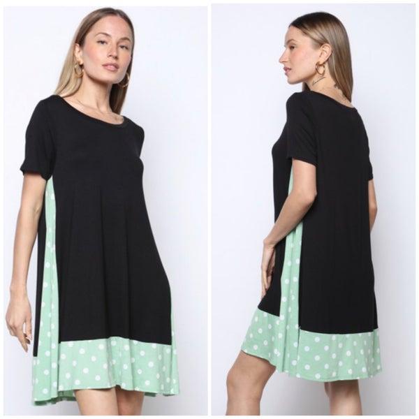 Black & Sage Polka Dot Dress