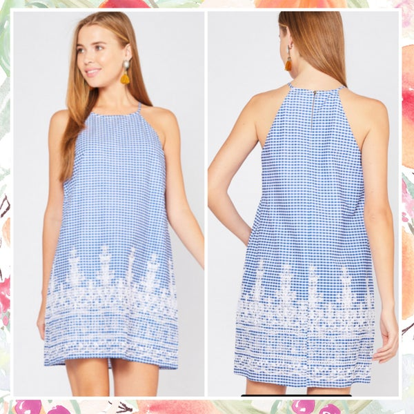 Deal of the Day Blue Gingham Lace Dress