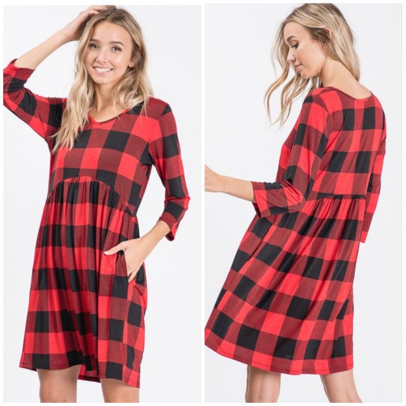 FINAL SALE Adorable Black & Red Buffalo Plaid Dress *Final Sale*