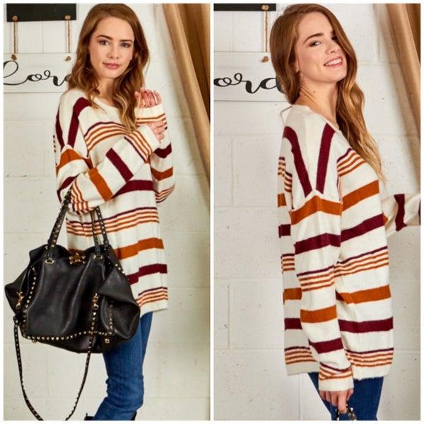 Rust & Wine Striped Sweater