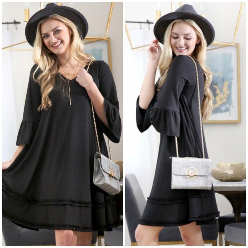 Black V-Neck Tiered Ruffle Sleeve Dress