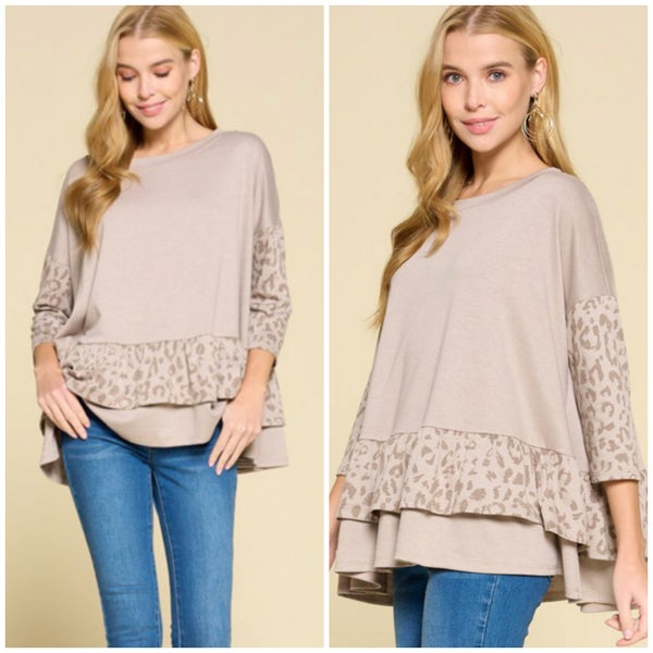Taupe Animal Print Ruffle Top