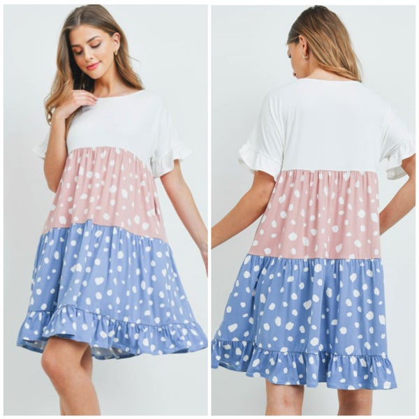 LAST CHANCE FINALSALE Blush & Blue Dot Tiered Dress