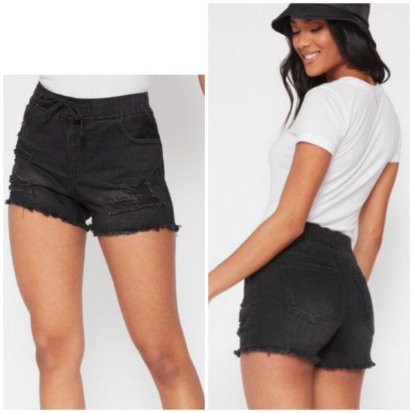Black Distressed Jogger Shorts