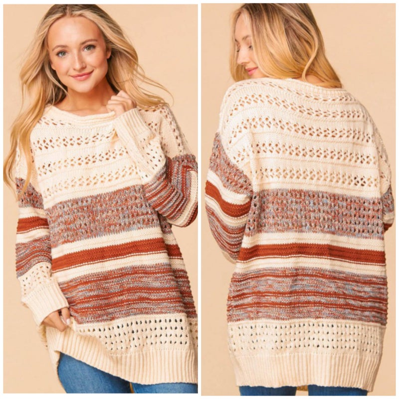 Cream & Rust Striped Sweater
