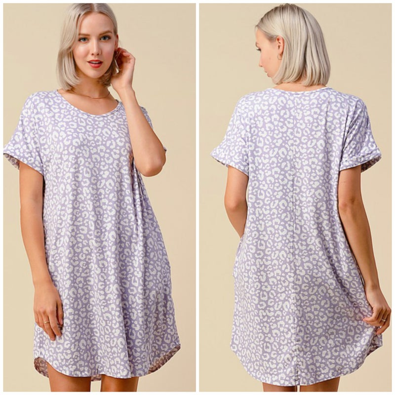 Lavender Animal Print Pocket Dress