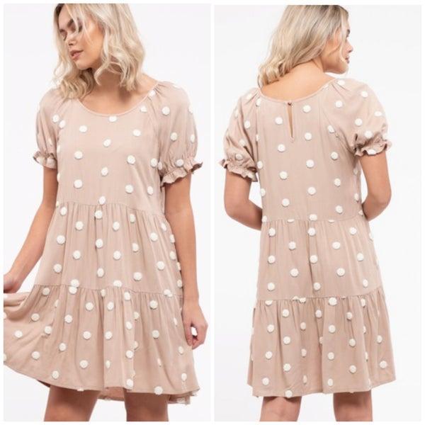 Khaki Polka Dot Tiered Dress