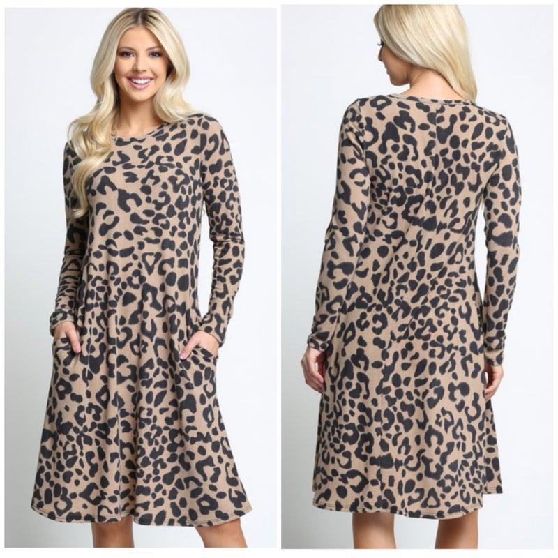 LAST CHANCE FINALSALE Taupe Leopard Print Pocket Dress