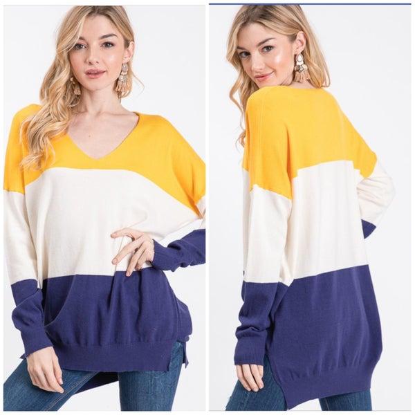 Navy & Mustard Striped Sweater