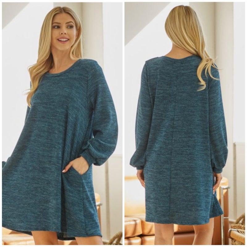 Teal A-Line Pocket Dress