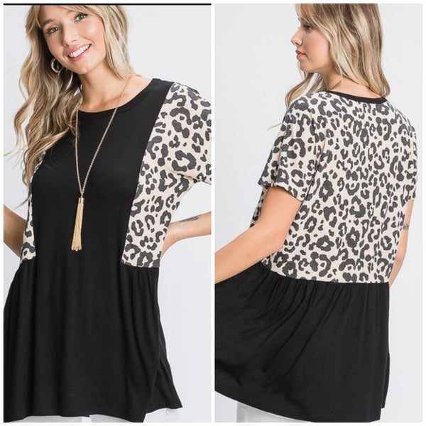 Black Animal Print Detail Top