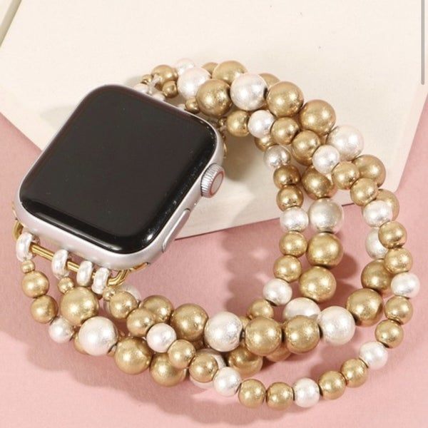 Gold & Silver Beaded Apple Watch Band (Fits 38/40)