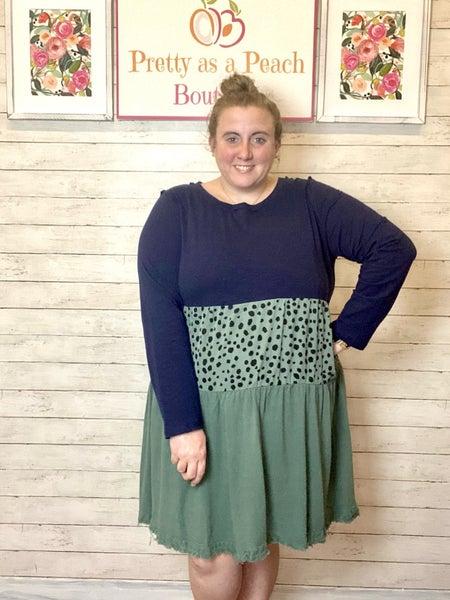 Umgee Navy & Teal Dalmatian Print Dress