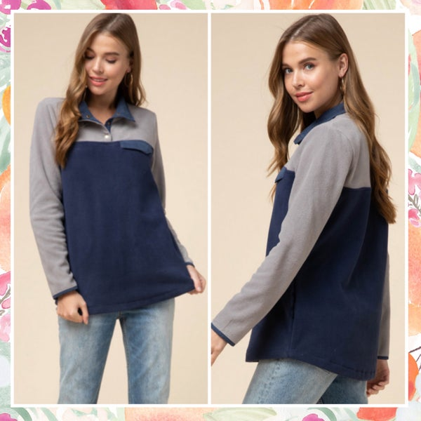 DEAL OF THE DAY Gray & Navy Pullover
