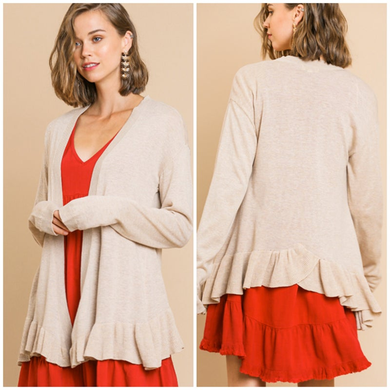 LAST CHANCE Umgee Natural Ruffle Sweater Cardigan FINALSALE