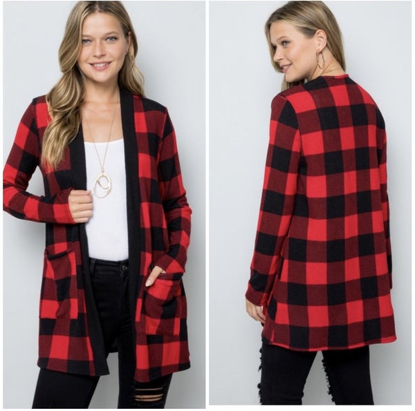 FINAL SALE Red Buffalo Plaid Cardigan