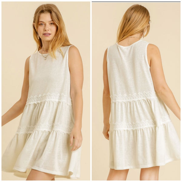 Umgee Off White Lace Detail Dress