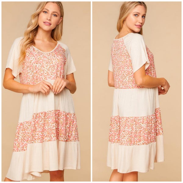 Taupe & Blush Floral Print Tiered Dress
