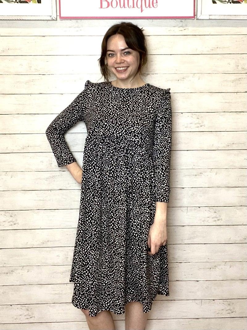 Black Animal Print Ruffle Dress