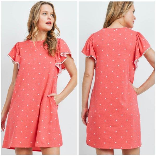 Red & White Polka Dot Pocket Dress