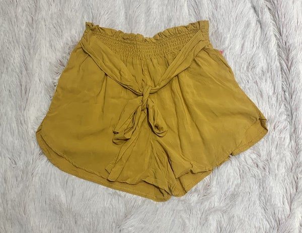 FINAL SALE Mustard Tie Shorts