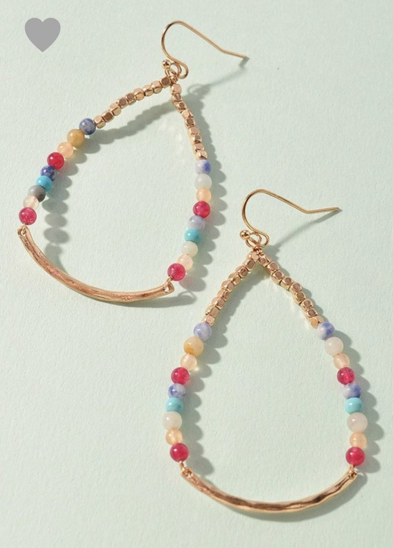 Multi Beaded Gold Oval Earrings