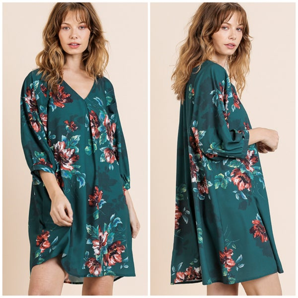 Umgee Teal Floral Tunic Dress