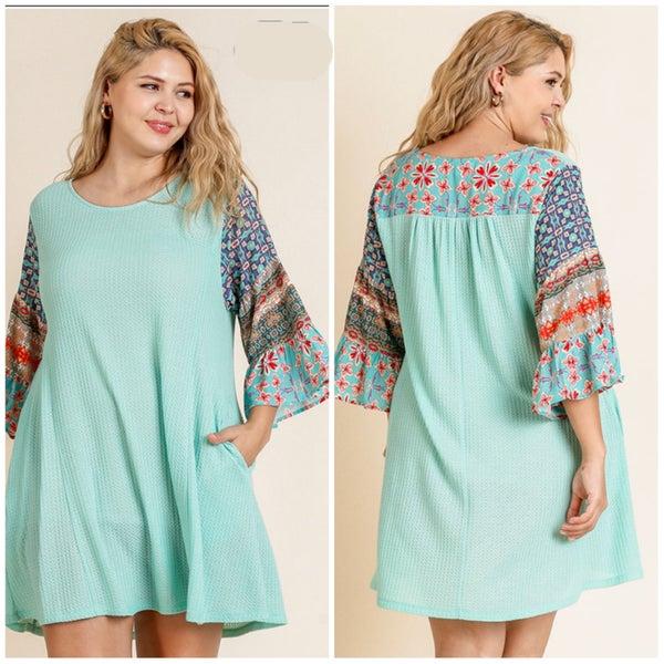 Umgee Mint Print Ruffle Sleeve Pocket Dress LAST CHANCE FINALSALE