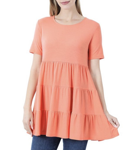 Coral Tiered Ruffle Tunic