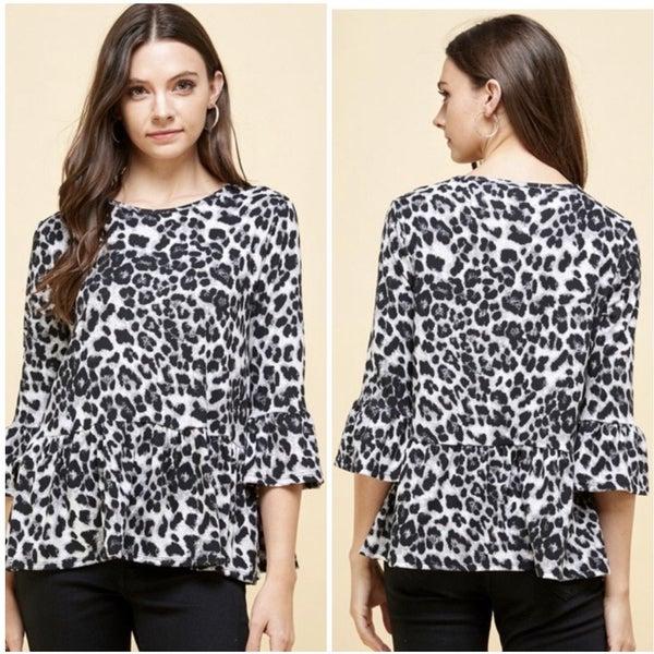 Gray Animal Print Ruffle Sleeve Top
