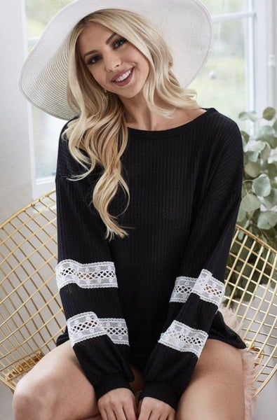 Black Waffle Crochet Sleeve Top