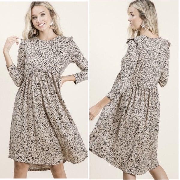 Taupe Animal Print Ruffle Dress