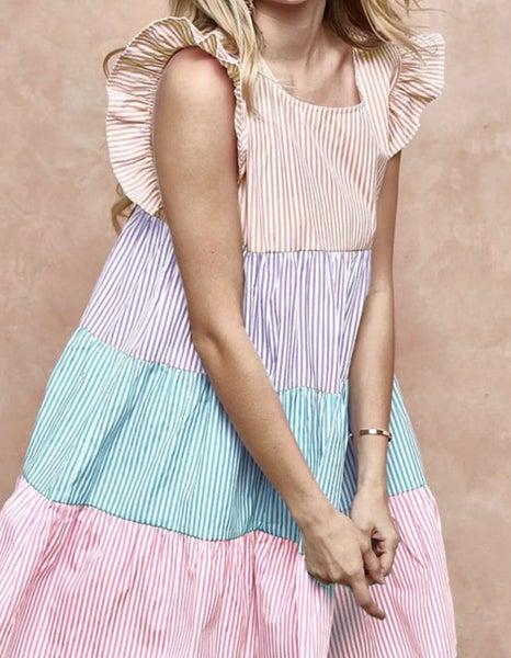 Multi Striped Color Block Ruffle Sleeve Dress