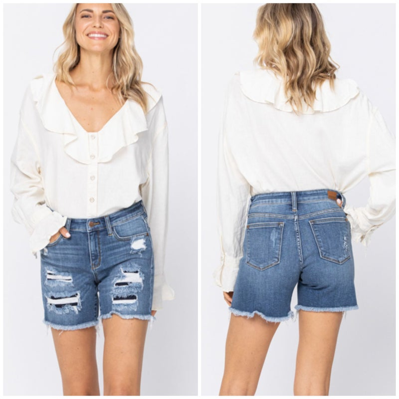 Judy Blue Mid Rise Patch Shorts