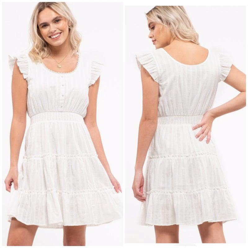 White Button Tiered Dress
