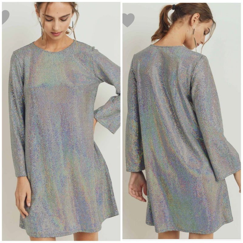 FINAL SALE Gray Sequin Long Sleeve Dress