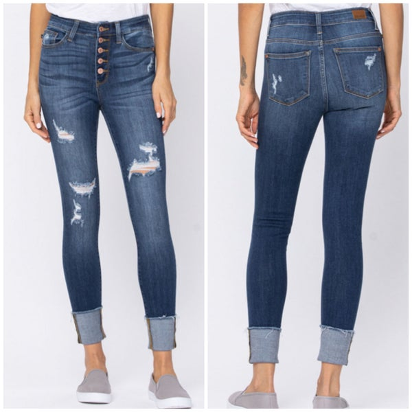 Judy Blue High Rise Button Cuffed Skinny