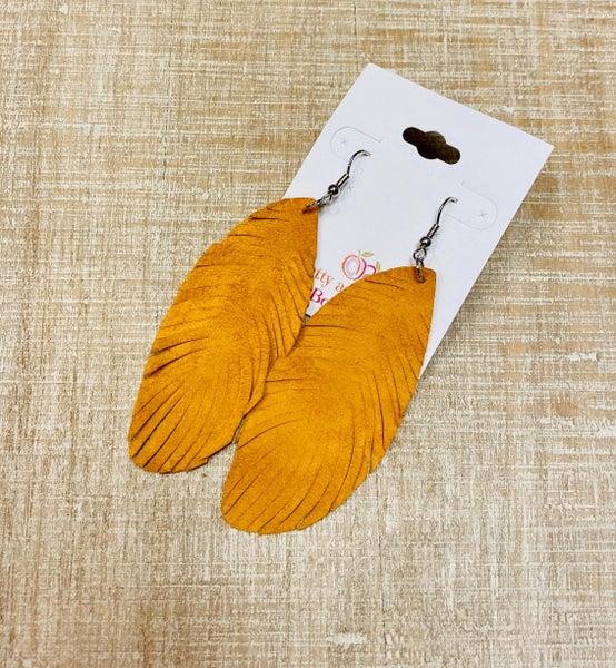 Mustard Faux Suede Feather Earrings