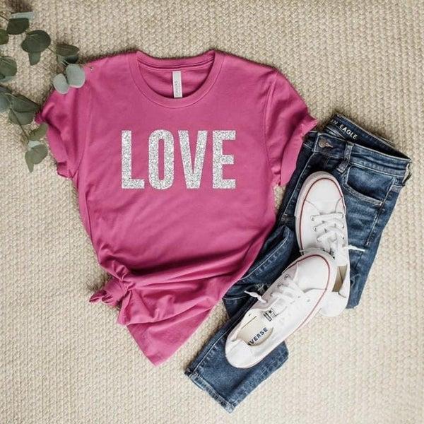 Pink Glitter Love Tee