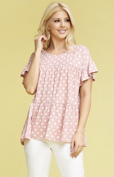 Blush Polka Dot Top