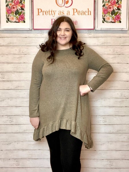 LAST CHANCE Olive Brushed Ruffle Tunic Sweater FINAL SALE