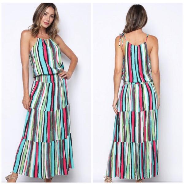 Multi Striped Tiered Maxi Dress