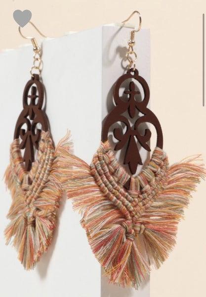 Multi Tassel Wooden Earrings