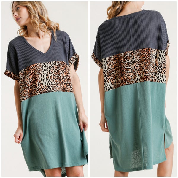 Umgee Charcoal & Teal Animal Print Dress