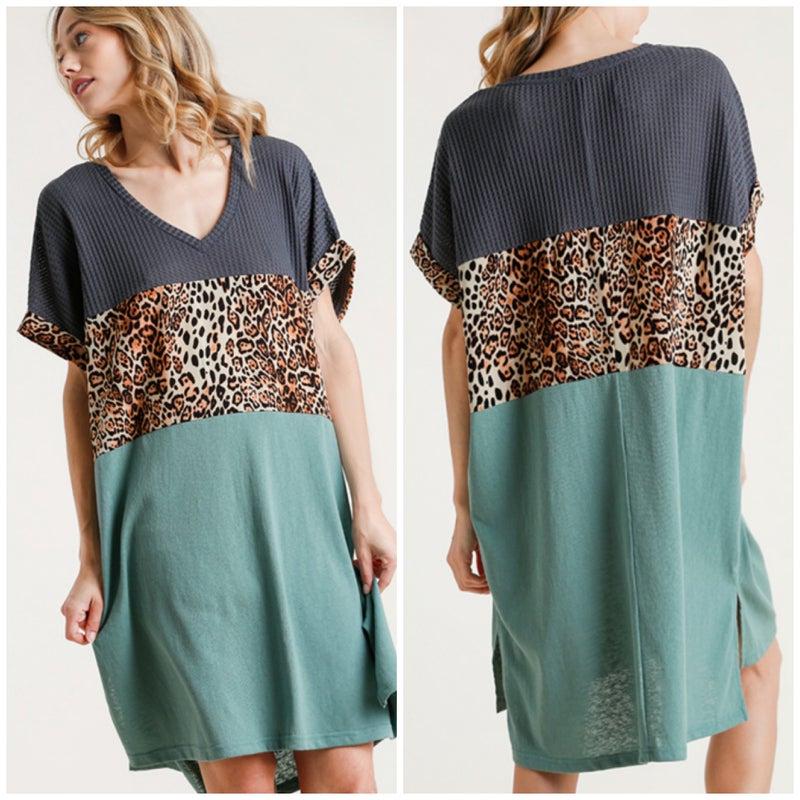 Umgee Charcoal & Teal Animal Print Dress