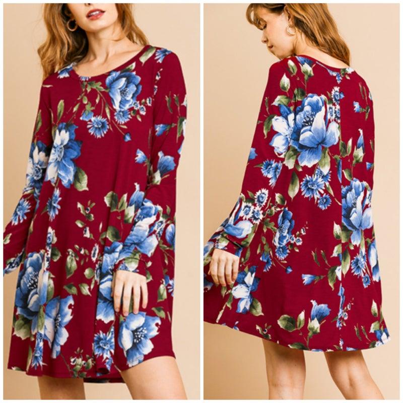 Umgee Wine Floral Dress